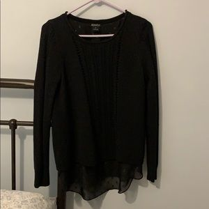 Lucky Brand Black Metallic Sheer-Back Sweater